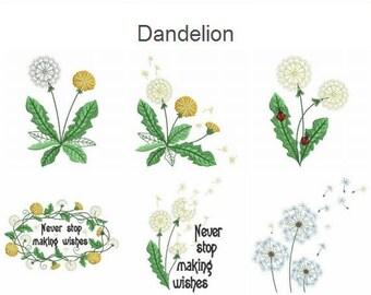 Dandelion Machine Embroidery Designs Instant Download 4x4&5x5 hoop 11 designs APE2164