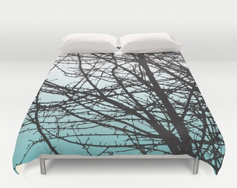 Tree Branches Duvet Cover - Blue Ombre Color Fade Duvet Cover - Queen Size Duvet Cover - King Size Duvet Cover