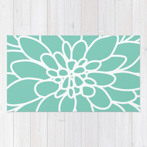 Modern Dahlia Flower Rug Area Rug Mint Green Pastel Decor