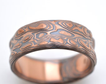 Guri Bori Mokume Gane Wedding Band in 14k red gold and Sterling Silver with etched and oxidized finish