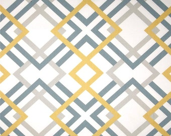 Modern Geometric Fabric by the Yard Greys & Saffron Designer Home Decor Fabric Drapery Fabric Upholstery Fabric Grey Yellow Cotton R137