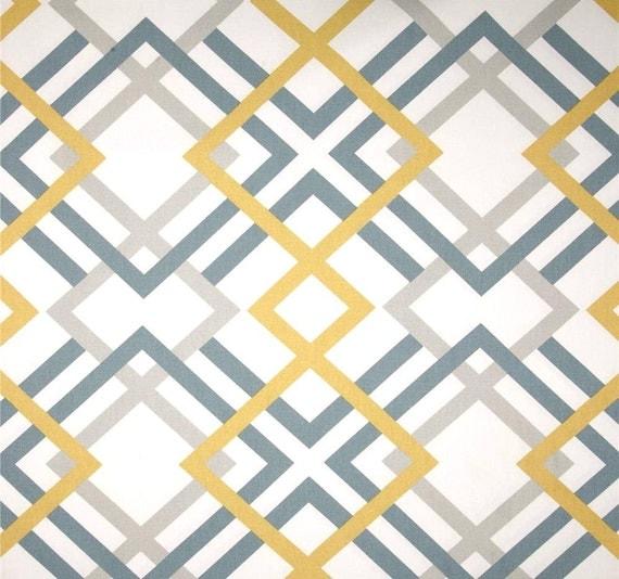 Modern Geometric Fabric by the Yard Greys Saffron Designer