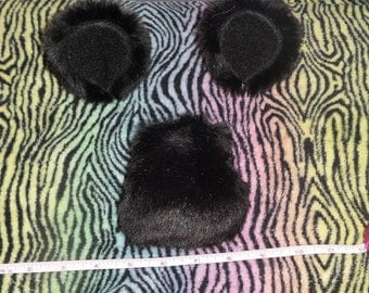Handmade Black Bear Ears and Tail Set