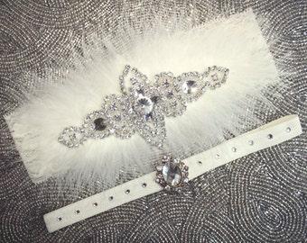 CUSTOMIZED Glamorous Vintage Couture Ivory Feathered Garter Set | Bridal Garter Set | Bling Wedding Garter | Swarovski Garter