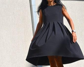 Maternity dress, pregnancy maxi tunic, loose top, plus size black dress, sleeveless everyday dress, oversized women, mid knee cotton dress