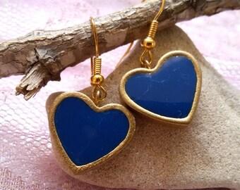 Blue heart earrings. blue dangle earrings. heart earrings. blue earrings. romantic earrings. love earrings. simple earrings. vintage style.