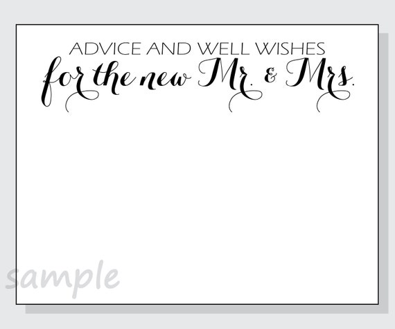 DIY Advice And Well Wishes For The New Mr. & Mrs. Printable