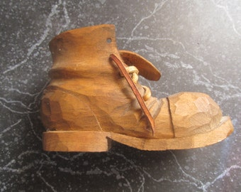 Small Carved Wooden Boot Workman's Style Carved Wooden Boot Leather Tie Whimsical Boot