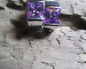 Retro Clip on Earrings Purple Lavender Rhinestones With Silver Tone Accents