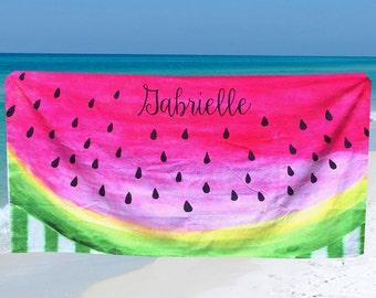 Personalized Beach Towel Watermelon Beach Towel Exclusive Design Custom Beach Towel with Name or Monogram