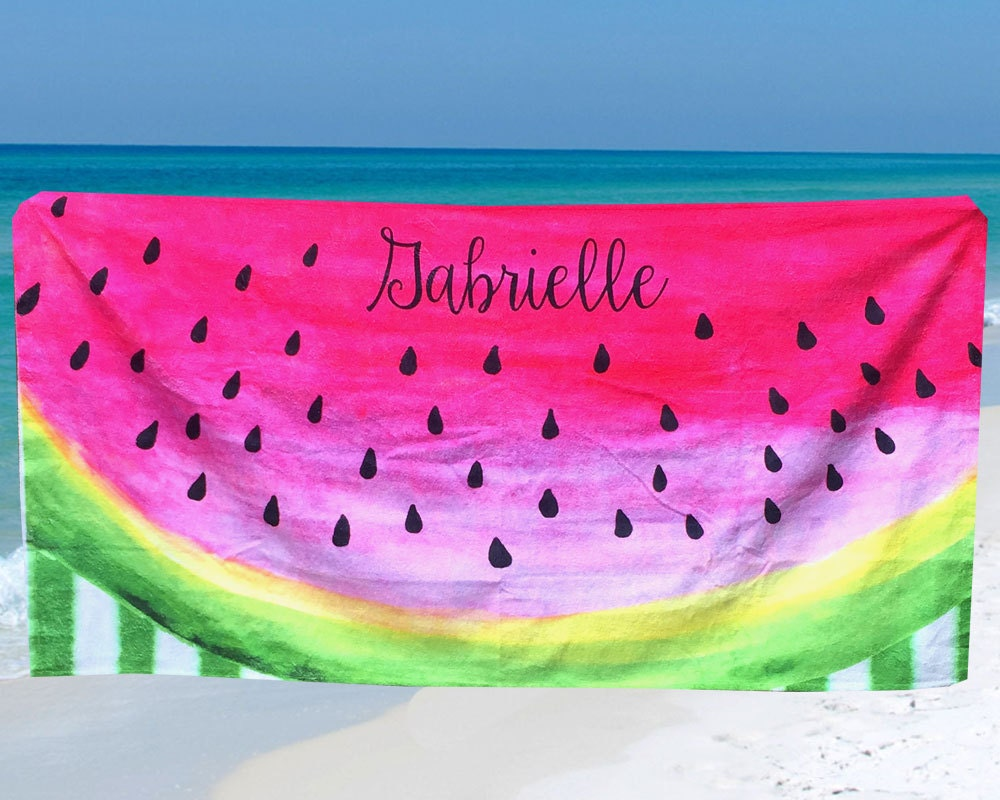 Personalized Beach Towel Watermelon Custom Beach Towel with Name