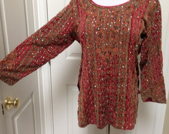 Sequined Embroidered Indian Tunic Blouse