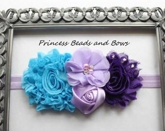 Shades of Purple, Lavender and Turquoise  Floral Headband, Shabby Chic Flower Headband, Girls Headband Baby Newborn Headband READY TO SHIP
