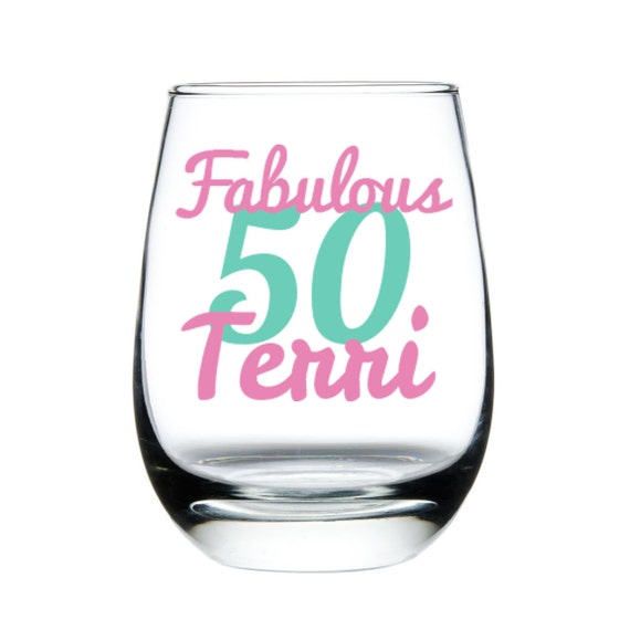 Fabulous 50 50th Birthday Stemless Wine Glass By Madoliveshop