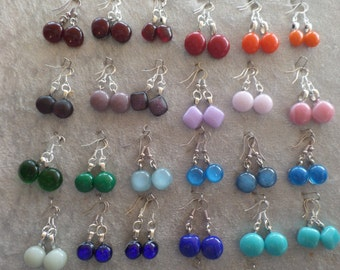 Colourful glass round dangly earrings on sterling silver earwires.