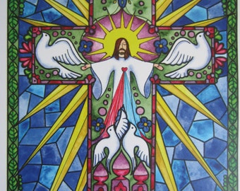 "Jesus, I Trust in You - Print of an original watercolor painting 8 1/2"" x 11 3/4"""