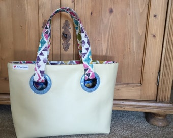 Leather Grommet Tote Bag