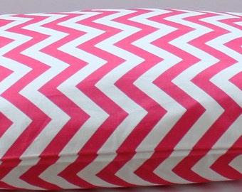 """Modern Dog Bed Cover, Hot Pink and White, Chevron,  Pet Bed- Small (19"""" x 25"""")- Ready to Ship"""