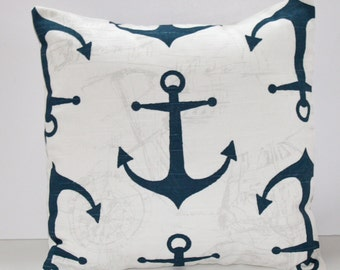 Navy and White Anchor/Nautical Pillow Cover- Navy and White Decorative Couch Pillow 16x16- Ready to Ship