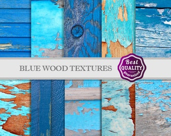 """Blue Wood Textures Digital Paper Set * """"Wood Patterms"""" 10Blue Wood Textures for Scrapbooking & Crafts, * Printable, Instant Download"""