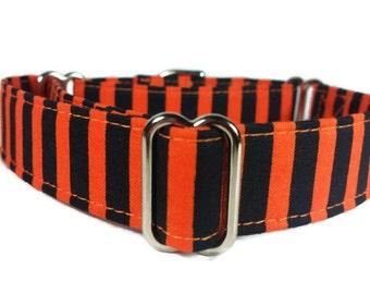 Orange and Black Stripe Halloween Dog Collar * Cat Collar * Martingale Collar * Buckle Collar * Chain Martingale * Breakaway Cat Collar