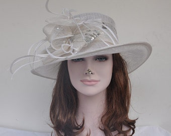 Fancy Medium Brim Kentucky Derby Floppy Slant Top Bucket with Flowers  Millinery Church  Hat Off White