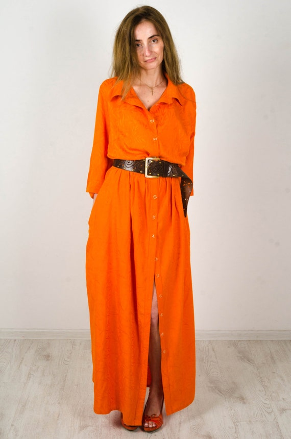 Items similar to Maxi cotton dress Maxi Casual dress orange dress ...