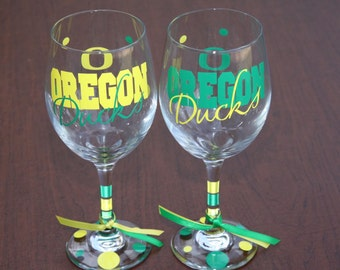 Oregon Ducks Glassware, Sports Glassware, Ducks Gifts, Go Ducks!!!