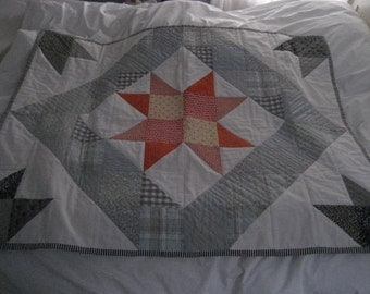 Orange Star Hand Sewn Quilt - now less than half price