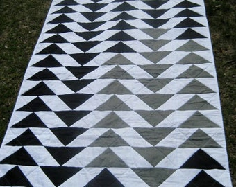 Grey and Black Hand Sewn Flying Geese Quilt - Now less than half price