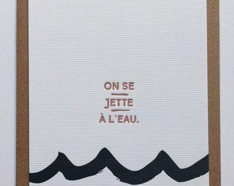 WAVES II / letterpress postcard handmade in Bordeaux