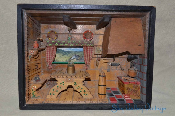 Kitchen Diorama Made Of Cereal Box: Diorama Bavarian German Kitchen 3D Wall Shadow Music Box Plays