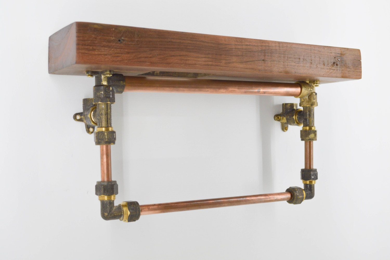 bathroom shelf with towel rail rack wood copper and brass. Black Bedroom Furniture Sets. Home Design Ideas