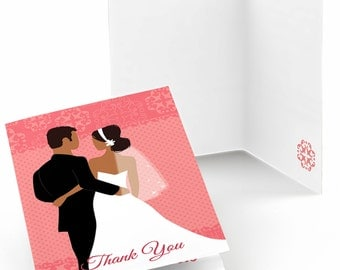 Set of 8 Thank You Cards - Custom Wedding Couples Pink - Note Cards