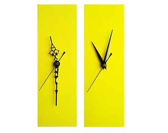 CLC Contemporary Slim Long Wall Clock YELLOW 30cm
