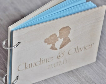 custom wood wedding guest book, wedding album laser engraved, personalized, guest book