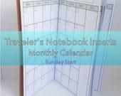 Monthly Planner -- No Grid {Standard Size} Printable Traveler's Notebook Insert Booklet // Sunday Start