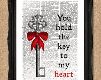 Key Dictionary Print You Hold the Key to my Heart Upcycled Book Page Art A077
