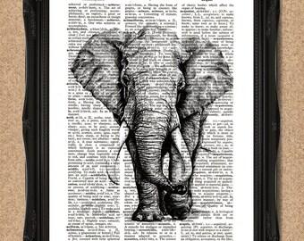 Elephant Dictionary Print 8x10 Majestic Elephant Wall Art A166