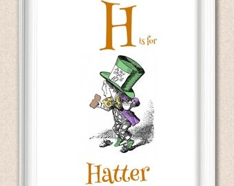 Personalized Nursery Print Alphabet Art Alice in Wonderland H is for Hatter A095