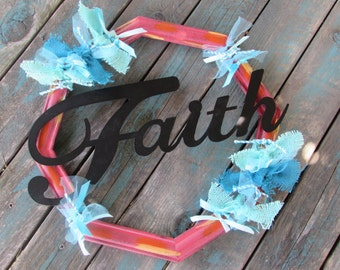 Faith Frame Wall Decor Faith Wall Decor Faith Frame Religious Wall Decor Religious Faith Decor Religious Faith Frame Red Turquoise Decor