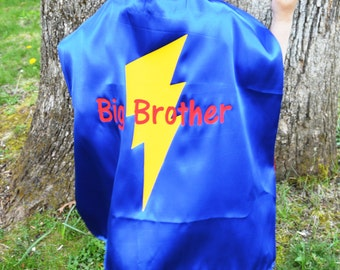 Big Bro Big Brother Superhero Cape Reversible Superhero Cape with Bolt, Great for New Brother or Sister Gift!