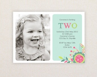 Photo Birthday Invitations. Girls bright & fun Design. I Customize, You Print.