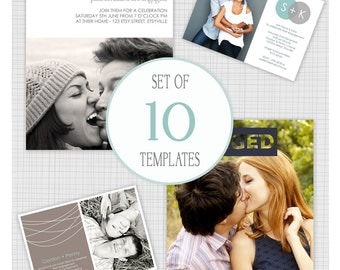 INSTANT DOWNLOAD: 10 PSD Engagement Invitation and Announcement templates. Mini Pack 3.