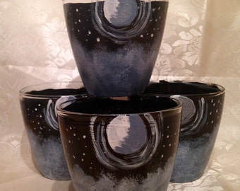 Sale !!Hand painted moon and stars tumblers~moon and stars glasses~ moon glassware ~starry tumblers~ moon tumblers~ midnight tumblers~unique