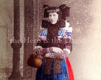 Queen Amidala // Unusual German photo, rare tinted CDV, curious photo of ethnic woman in traditional costume, Buckeburg Flugelhaube