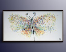 "Butterfly Painting 60""  Original Handmade Oil Painting on canvas , Thick Luxurious Paint,  By Koby Feldmos"