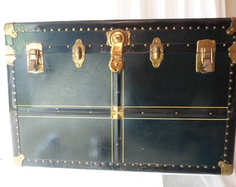 Vintage 1920's Large H & M Dependable Luggage Trunk!
