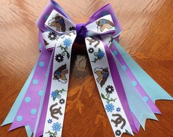 Pony Kids Horse Show Hair Bows, Blue, glitter bling fun!