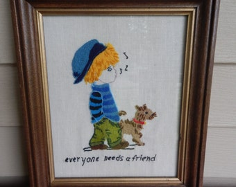 Sweet Embroidered Boy and His Dog Picture!